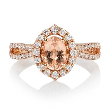 18ct Rose Gold Split Shoulder Design Morganite and Diamond Cluster Dress Ring  thumbnail