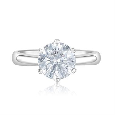 Platinum Six Claw Diamond Solitaire Engagement Ring 2.34ct thumbnail