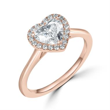 18ct Rose Gold Heart Shape Diamond Halo Engagement Ring 1.06ct thumbnail
