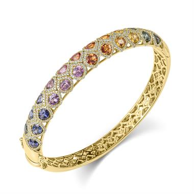 Samba 18ct Yellow Gold Rainbow Sapphire and Diamond Bangle thumbnail