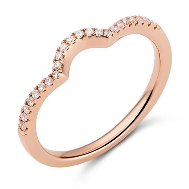 18ct Rose Gold Shaped Diamond Set Wedding Ring 0.12ct thumbnail