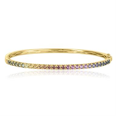 Samba 18ct Yellow Gold Rainbow Sapphire Bangle thumbnail