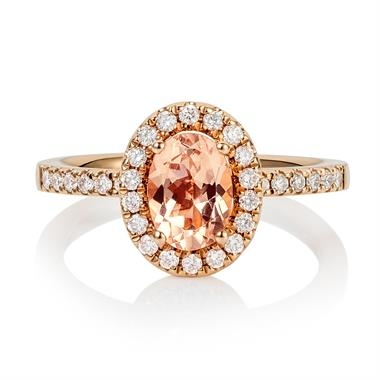 18ct Rose Gold Oval Morganite and Diamond Halo Dress Ring  thumbnail
