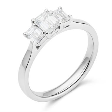 Platinum Emerald Cut Diamond Three Stone Engagement Ring 0.95ct thumbnail