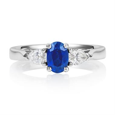 Platinum Oval Sapphire and Diamond Three Stone Ring thumbnail