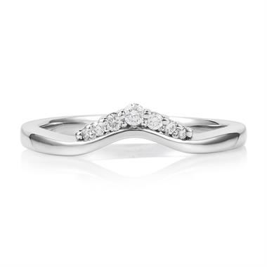 Platinum Diamond Set Shaped Wedding Ring 0.09ct thumbnail
