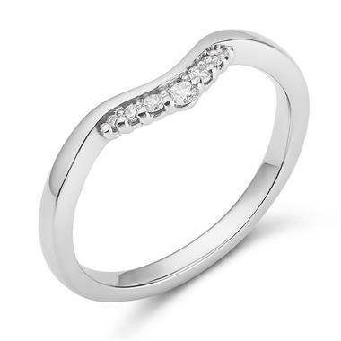 Platinum Curved Diamond Ring thumbnail