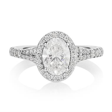 Platinum Oval Diamond Halo Engagement Ring 1.58ct thumbnail