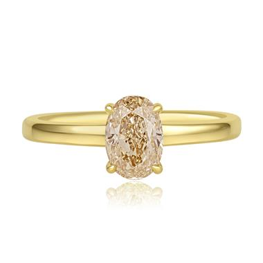18ct Yellow Gold Oval Champagne Diamond Solitaire Engagement Ring thumbnail