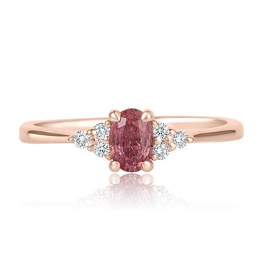 18ct Rose Gold Oval Padparadscha Sapphire and Diamond Engagement Ring thumbnail