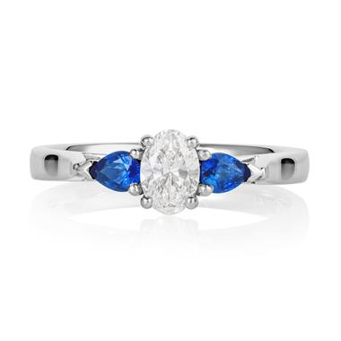 Platinum Oval Diamond and Pear Shape Sapphire Three Stone Engagement Ring thumbnail