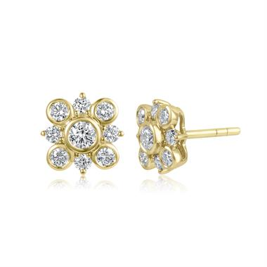18ct Yellow Gold Diamond Cluster Stud Earrings thumbnail