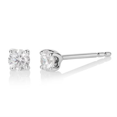 18ct White Gold Diamond Solitaire Stud Earrings 0.50ct thumbnail