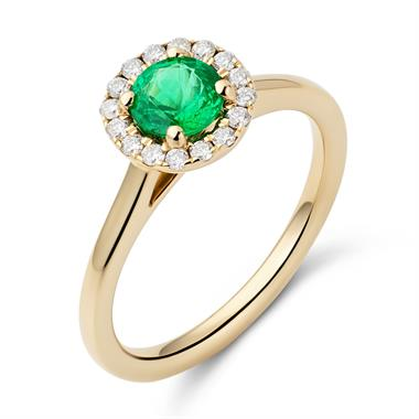 18ct Yellow Gold Emerald and Diamond Halo Ring thumbnail