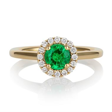 18ct Yellow Gold Emerald and Diamond Round Halo Engagement Ring thumbnail