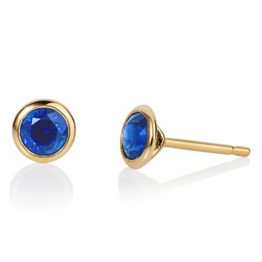 18ct Yellow Gold Sapphire Solitaire Earrings thumbnail