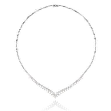 18ct White Gold V-Shape Diamond Necklace thumbnail