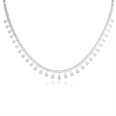 18ct White Gold Illusion Detail Diamond Necklace 4.87ct thumbnail