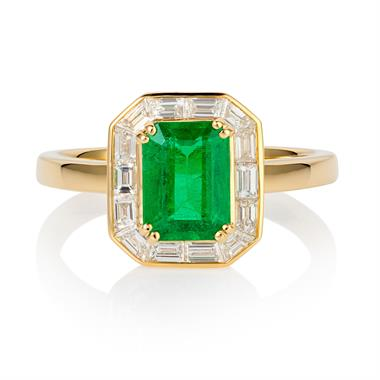 18ct Yellow Gold Emerald and Baguette Cut Diamond Cluster Dress Ring thumbnail