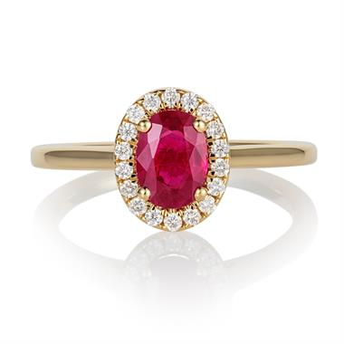 18ct Yellow Gold Oval Ruby and Diamond Halo Engagement Ring thumbnail