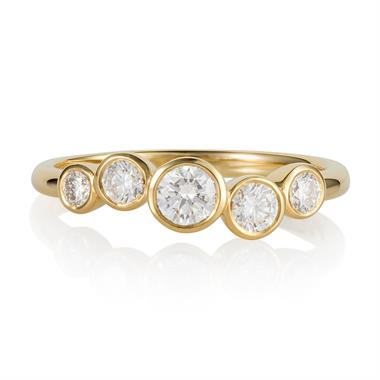 Alchemy 18ct Yellow Gold Graduated Diamond Ring thumbnail