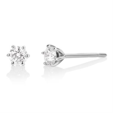18ct White Gold Diamond Solitaire Stud Earrings 0.30ct thumbnail