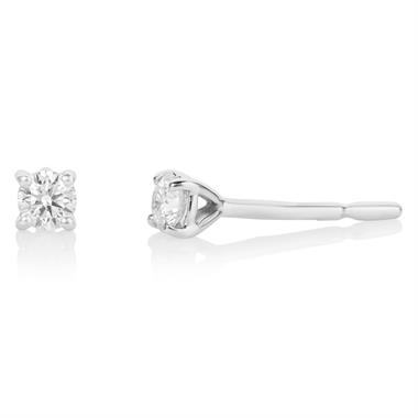 18ct White Gold Diamond Solitaire Stud Earrings 0.20ct thumbnail