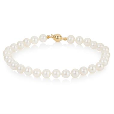 18ct Yellow Gold Freshwater Pearl Bracelet 5.5-6.0mm | 19cm thumbnail