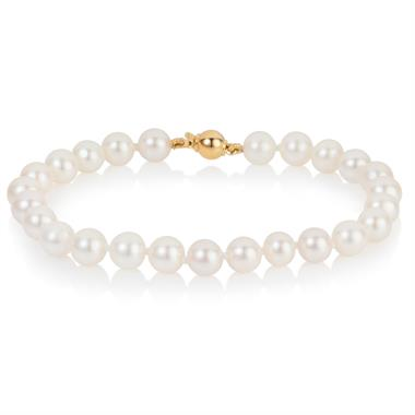 18ct Yellow Gold 6.5mm Freshwater Pearl Bracelet thumbnail