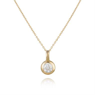 18ct Yellow Gold Diamond Solitaire Pendant 0.35ct thumbnail