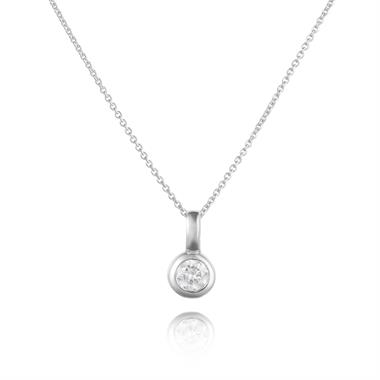 18ct White Gold Diamond Solitaire Pendant 0.16ct thumbnail