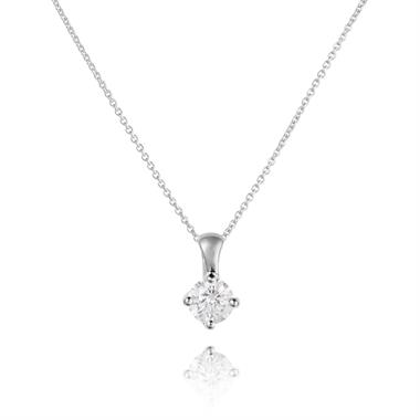 18ct White Gold Diamond Solitaire Pendant 0.35ct thumbnail