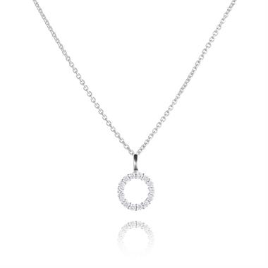 18ct White Gold Circle Design Diamond Pendant - Small 0.18ct thumbnail