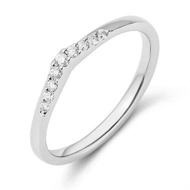 Platinum Diamond Set Shaped Wedding Ring 0.15ct thumbnail