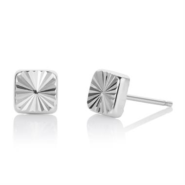 18ct White Gold Faceted Square Design Stud Earrings 5.5mm thumbnail
