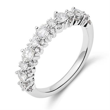 18ct White Gold Wreath Style Diamond Ring thumbnail