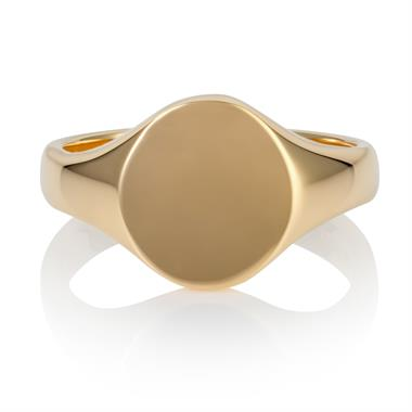 9ct Yellow Gold Small Oval Signet Ring  thumbnail