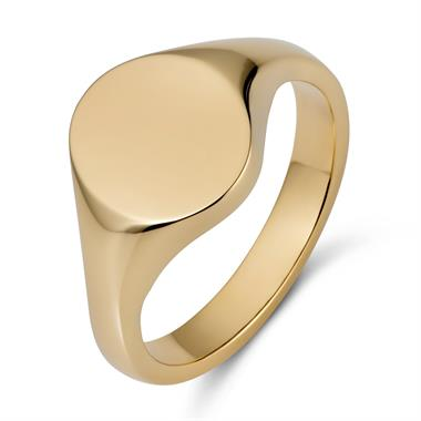 9ct Yellow Gold Medium Oval Signet Ring thumbnail