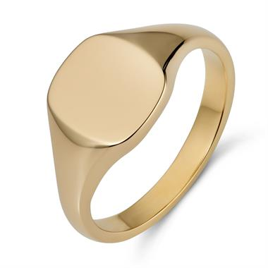 9ct Yellow Gold Cushion Shape Signet Ring thumbnail