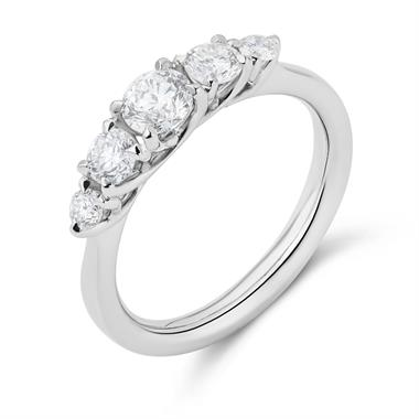 Platinum Five Stone Diamond Engagement Ring 0.80ct thumbnail