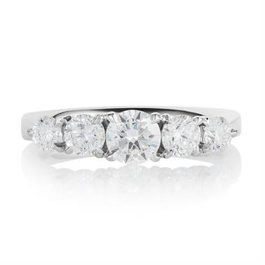 Platinum Five Stone Diamond Engagement Ring 1.25ct thumbnail