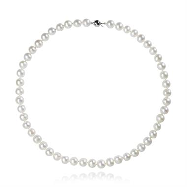 18ct White Gold Classic Freshwater Pearl Necklace 41cm thumbnail