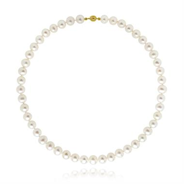 18ct Yellow Gold Freshwater Pearl Necklace 7.5-8.0mm | 45cm  thumbnail