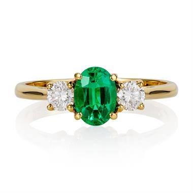 18ct Yellow Gold Oval Emerald and Diamond Ring thumbnail