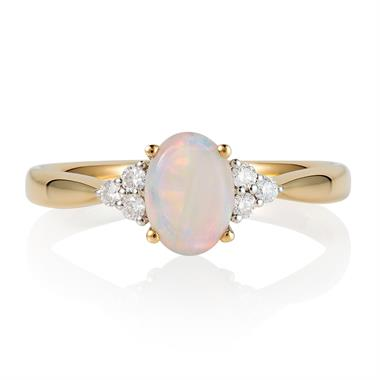 18ct Yellow Gold Opal and Diamond Dress Ring thumbnail