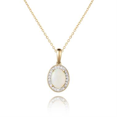 18ct Yellow Gold Opal and Diamond Halo Pendant thumbnail