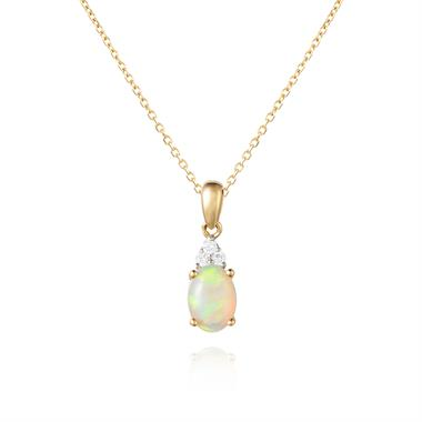 18ct Yellow Gold Opal and Diamond Pendant thumbnail