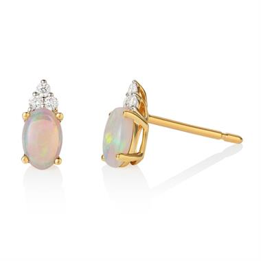 18ct Yellow Gold Opal and Diamond Stud Earrings thumbnail