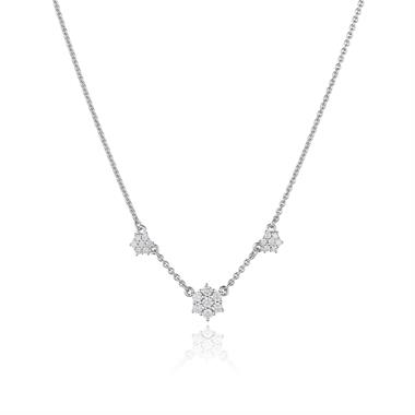 18ct White Gold Diamond Cluster Necklace thumbnail