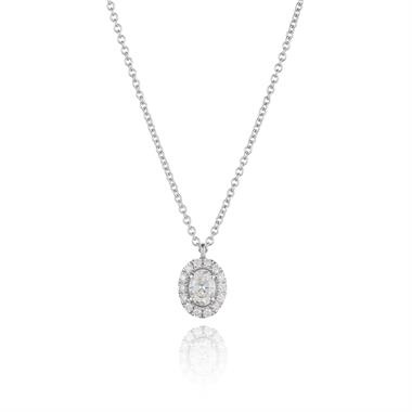 18ct White Gold Oval Diamond Halo Necklace 0.44ct thumbnail